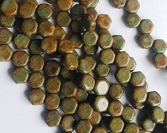 Hodge Podge Honeycomb Blue Travertine, Hex 2-Hole Beads Czech Glass 6mm, 699995-86800 30 beads
