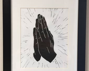 Praying Hands Linocut Print