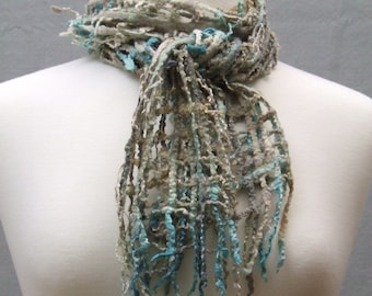 Hand Felted Lattice Scarf Hand Dyed Silk Merino Wool Blend Beaded Sand Sea Beach