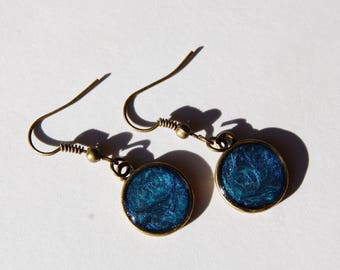 Blue Bronze Dangle Earrings // Bronze Earrings // Blue Earrings