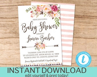 Baby Shower Invitation, Watercolor Pink Floral Baby Shower invitation, Boho Rustic Floral Invitation, Editable Invitation. Instant Download