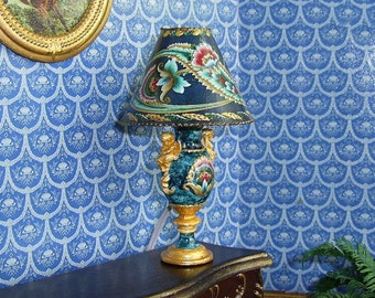 TABLE LAMP for Dollhouse. LAMP 12 V. Handcrafted miniature.  1:12 Scale