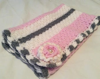 Adorable, Pink, White, and Gray, Baby Blanket, Handmade