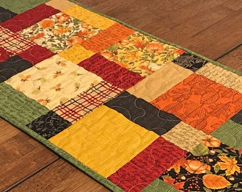Quilted Patchwork Table Runner, Country Home Decor, Rustic Table Runner, Quilted Fall Table Runner, Fall Colors Table Quilt