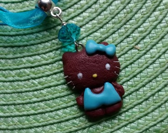 Child my little PUSSY chocolate clay, turquoise Crystal Necklace