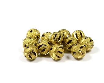 10 Pcs. Raw Brass 8 mm Textured  Round Brass Bead