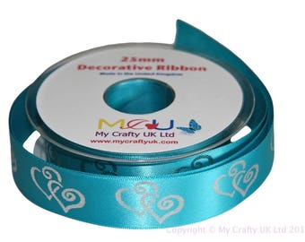 1 Metre of 25mm Double Heart Ribbon - Turquoise Blue - Wedding Anniversary Decoration Cake