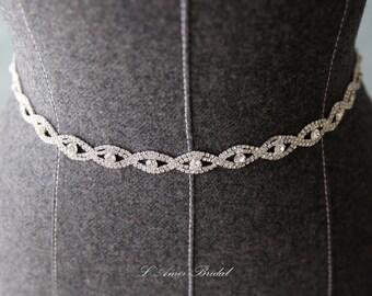Ready To Ship - Slender Rhinestone Ribbon sash wedding dress belt silver thin Bridal Belt - Silver and Crystal Rhinestone dress belt