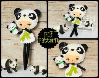 PDF. Panda bear girl with puppet. Plush Doll Pattern, Softie Pattern, Soft felt Toy Pattern.
