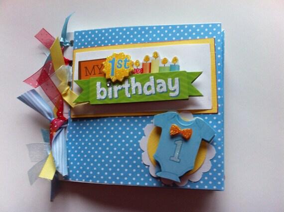 Babys first birthday scrapbook album baby boy first birthday album