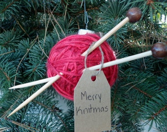 Red Yarn Ball Knitting Ornament | Crochet or Knitting Gift | Christmas Tree Ornament | Free Shipping