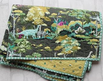 modern dinosaur baby quilt- brontosaurus quilt blanket- modern baby crib bedding- dinosaur jungle nursery- toddler lap quilt