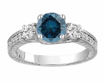 Blue Diamond Engagement Ring Platinum, Vintage Blue Diamond Wedding Ring, Bridal Ring, 1.39 Carat Antique Style Engraved Unique Handmade