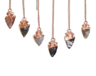 Agate Arrowhead crystal necklace - electroformed jewelry, copper jewelry, crystal jewelry, crystal, natural crystal, arrowhead jewelry