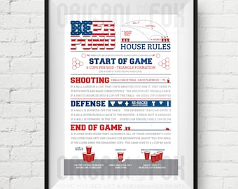 Beer Pong House Rules Poster - Typography Print