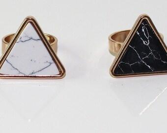 Geometric marble ring