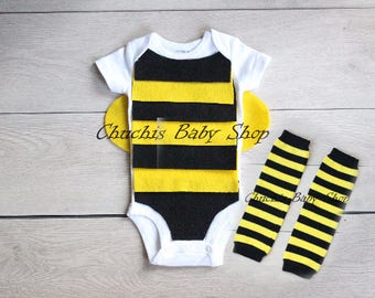 Baby Bee onesie Baby with leg warmers Halloween outfit Baby Bee costume baby costume baby Halloween costume