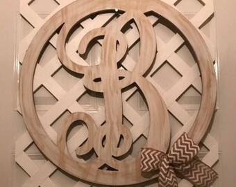 Farmhouse Monogram Decor - Monogram Home Decor - Monogram - Antiqued White Monogram - Bridal Shower Gift - Monogram Door Hanger - Gift