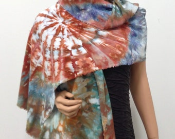 Scarf Bamboo Hand Dyed Ice Soft Multicolored Colorful Elegant Lightweight Spring Kaleidoscope Handmade Muted Bronze Brown Blue Green Earthy
