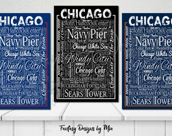 Chicago Destination Canvas Wall Art, Windy City Chicago Print, Décor, Gift, Typography, Destination, Everything Chicago