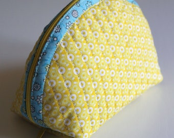 Handmade Dumpling pouch - fabric - quilted -  blue  yellow - flowers