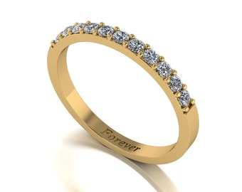 Skinny Wedding Ring, Enhancer Moissanite Engagement Ring in 9 Carat White or Yellow Gold