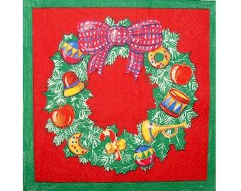 Set of 3 napkins NOE027 wreath Christmas red background