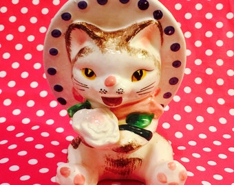 Victoria Ceramics Anthropomorphic Kitten Planter Wearing a Blue Hat holding a Flower made in Japan circa 1950s