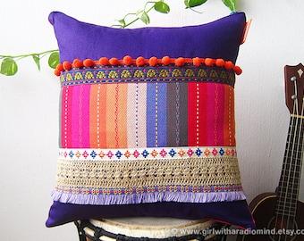 Boho Throw Pillow Purple Bohemian - Colorful Gypsy Boho Cushion Cover - Home Deco