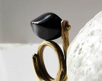 Brass ring forged in fire with Black onyx.