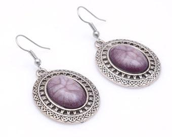 Fantastic Purple Jasper 925 Silver Earrings