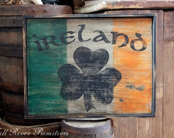 Early looking Ireland Wooden Sign Irish Flag