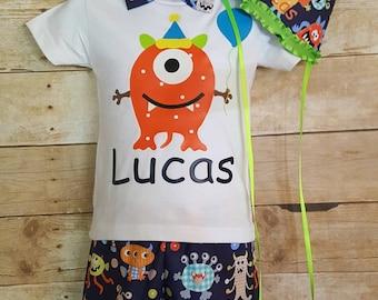 Boys cake smash outfit; Monster Cake Smash Outfit, Applique Shirt, First Birthday Cake Smash