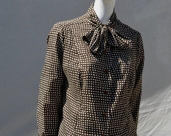 Vintage 70's dress shirt polyester op art pattern short long sleeves sM by thekaliman