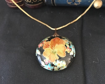 "Vintage Cloisonne Flower Circle Pendant with 9"" Goldtone Chain - Never Used"