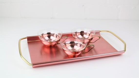 Vintage Tray & 3 Groggläser set in rose Copper Midcentury Modern servingset antique copper tray + 3 Mugs