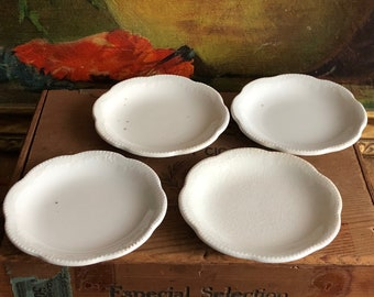 Tiny Plates Tea Set of 4 Vintage Made in England Distressed White Ceramic Replacement Shabby Chic
