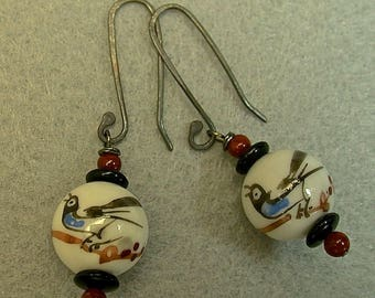Vintage Chinese BIRD Porcelain Bead White Blue Black Drop Dangle Earrings, Carnelian Beads,Black Glass,Handmade Sterling Silver Ear Wires