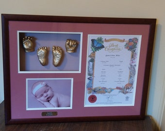 Framed Commemorative Birth Certificate with hand and feet sculptures