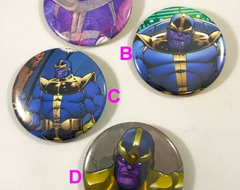 Thanos 2.25 Pinback Buttons / Guardians of the Galaxy / Avengers Infinity War / made of pages cut from a comic book