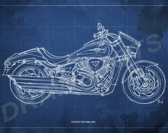 Suzuki VZR 1800 Blueprint, Art Print 8x12 in and LARGER SIZES, Motorcycle Art print,Original Handmade Drawing