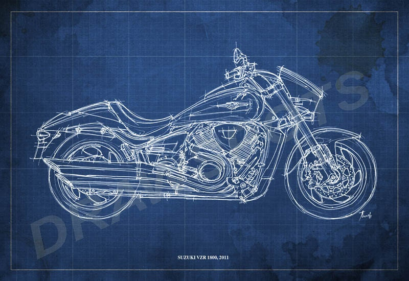 Suzuki vzr 1800 blueprint art print 8x12 in and larger sizes zoom malvernweather Images