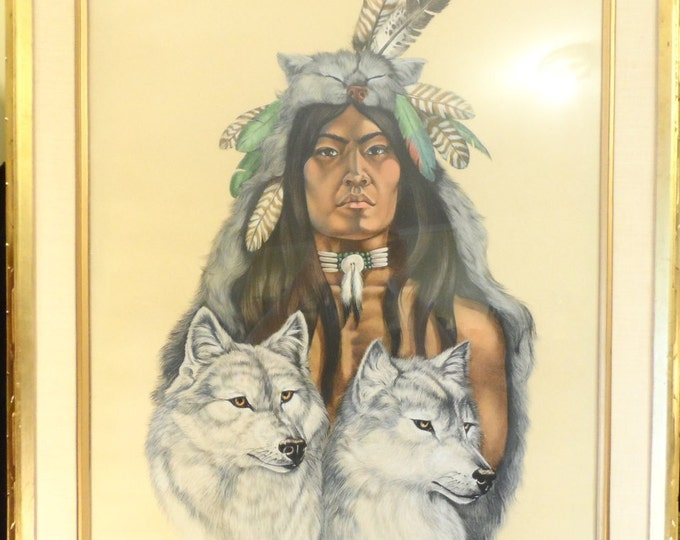 """Fine Art-Native American and Wolves-Jacque Evens Colored Litho Limited # 19/20 """"The Society""""-Wild Spirit Wolf Sanctuary"""
