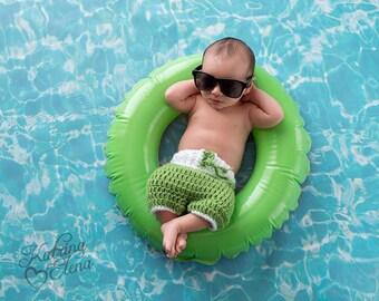 Newborn Surfer Set/ Baby Board Shorts/ Nautical Theme Nursery/ Crochet Baby Bathing Shorts/ Baby Boy Prop/ Crochet Short/ Coral and White