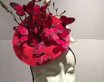 Butterfly Fascinator- Derby Day- Red Hat- Mad Hatter- Wedding fascinators - Derby Hat- Vinatge style- Horse race fashion - Tea Party