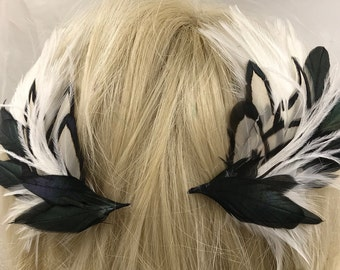 Pair of Black and White Feather Hair Clips, Matching Feather Fascinators, Black And White Feather Accessories,Feather Barrettes,Boho Clips