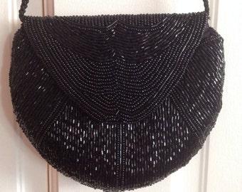 Black Beaded Evening Bag.  Cross body or Shoulder bag.