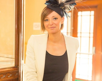 Pheasant feather felt hat perfect for weddings and race events