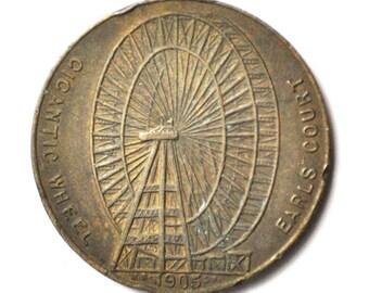 1905 Earls Court Gigantic Ferris Wheel Bronze Medal 32mm