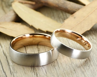 WEDDING RING - Personalized Matt Special Valentine's Day gift Two Tone Rose Gold Wedding Titanium Rings Set